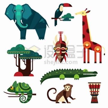 大象长颈鹿鳄鱼变色龙等非洲几何形状扁平化风格野生动物png图片免抠矢量素材