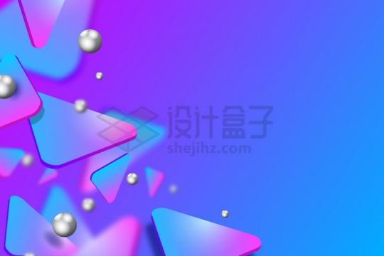 彩色渐变色3D三角形立体形状背景装饰png图片免抠矢量素材