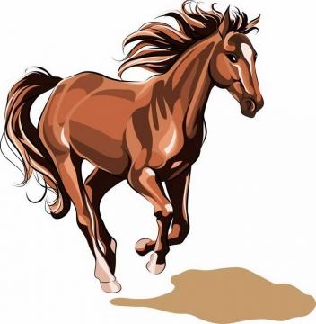 一匹手绘风格奔跑中的骏马图片png免抠素材