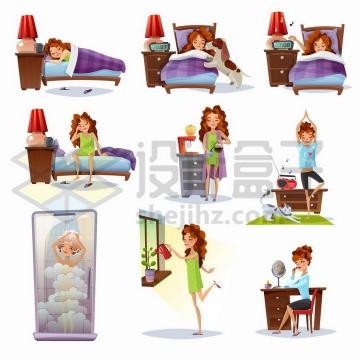 卡通女孩从起床到洗漱冲咖啡练瑜伽洗澡工作等一天的生活经历png图片免抠矢量素材