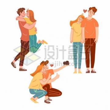 卡通情侣拥抱一起自拍甜美瞬间爱情撒狗粮png图片素材