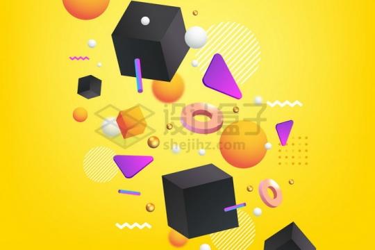 彩色3D三角形立方体圆环和球体背景装饰png图片免抠矢量素材
