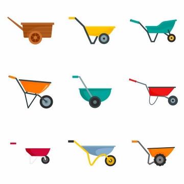 9款扁平化风格的小推车独轮车工具车侧面图png图片免抠矢量素材
