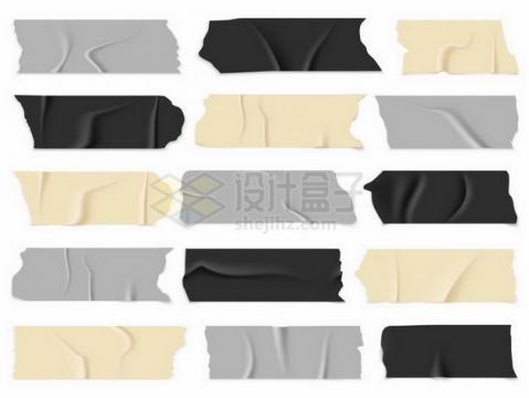 15款黄色灰色黑色胶带胶布贴纸效果png图片免抠矢量素材