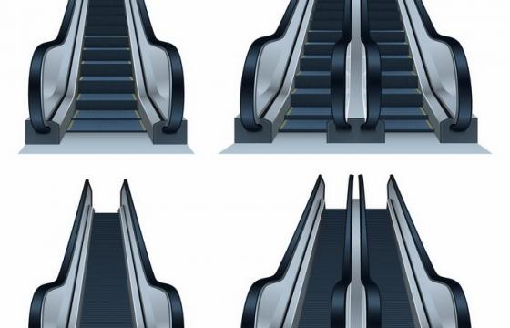 4款超市自动扶梯手扶电梯png图片免抠矢量素材