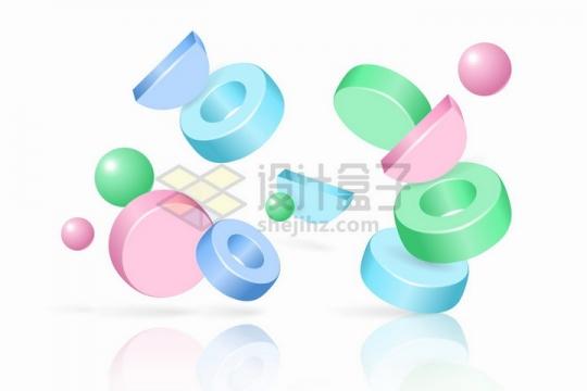 3D几何形状圆圈圆饼等png图片免抠矢量素材