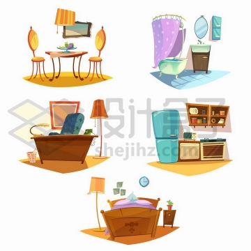 卡通餐桌浴室办公桌厨房和床等家具png图片免抠矢量素材