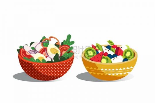 2款陶瓷碗中的蔬菜色拉和水果切片拼盘美味美食png图片免抠矢量素材