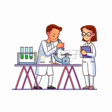 两个卡通科学家使用显微镜手绘插画png图片免抠矢量素材