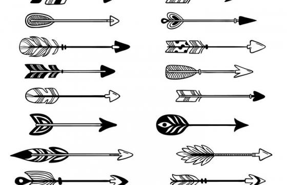 20款黑色手绘风格各种射箭的箭头图片免抠矢量图