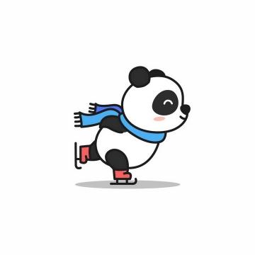 正在溜冰滑冰的卡通熊猫png图片免抠矢量素材