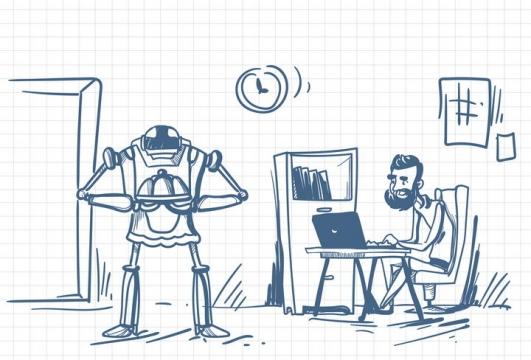 圆珠笔画涂鸦风格有机器人服务的程序员职场人际交往配图图片免抠矢量素材