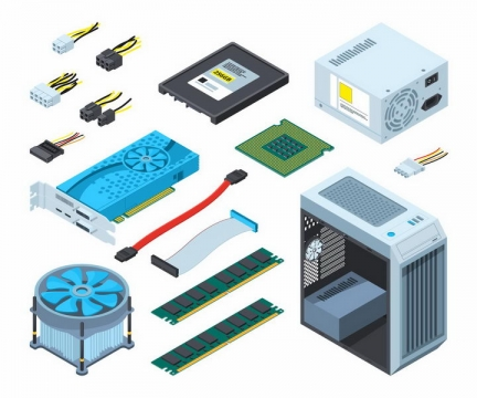 2.5D风格电脑硬盘CPU处理器电源散热风扇内存条机箱等电脑配件png图片免抠矢量素材