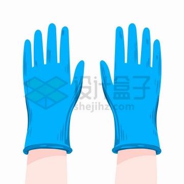 卡通手绘风格蓝色医用防护手套png图片免抠矢量素材