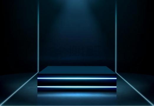 酷炫淡蓝色发光线条方形展台舞台png图片免抠矢量素材