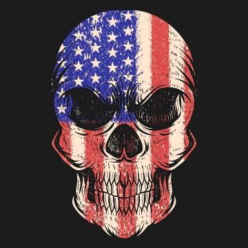 超酷美国国旗星条旗覆盖的骷髅头免抠矢量图片素材