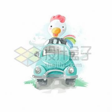 卡通白色鸭子驾驶着绿色汽车水彩插画png图片素材