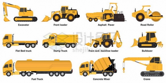 挖掘机铲车推土机压路机卡车油罐车水泥车吊车等黄色工程车辆侧视图png图片素材