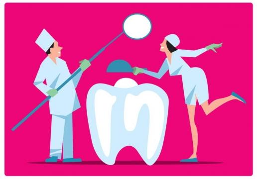 扁平化风格正在检查牙齿的牙医医生和护士图片免抠矢量素材