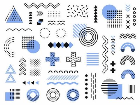 孟菲斯风格各种线条图形装饰图案png图片免抠矢量素材