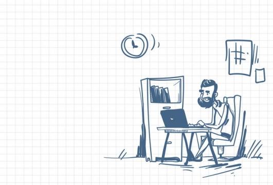 圆珠笔画涂鸦风格写程序的程序员职场人际交往配图图片免抠矢量素材