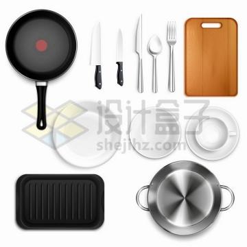平底锅菜刀西餐刀叉砧板盘子铁板烧等餐具png图片免抠矢量素材
