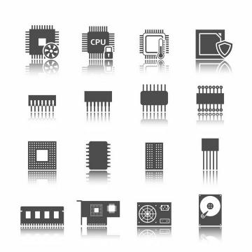 黑白色风格的CPU处理器内存集成电路等电脑零部件图标png图片免抠矢量素材