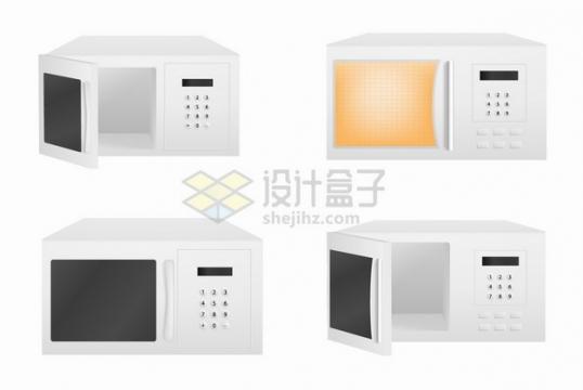4款白色微波炉厨房家电png图片素材