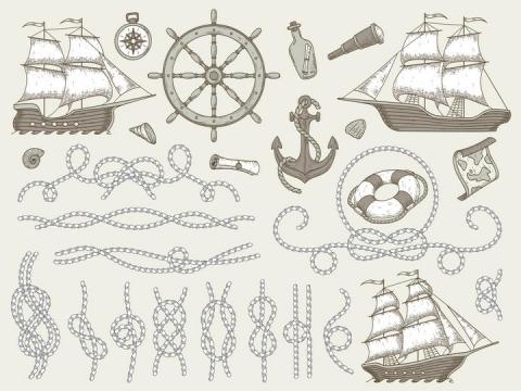 手绘复古风格风帆船绳子等图片免抠矢量图