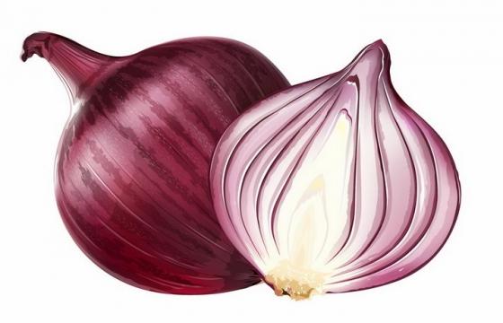 切开的紫洋葱美味蔬菜横切面png图片免抠矢量素材