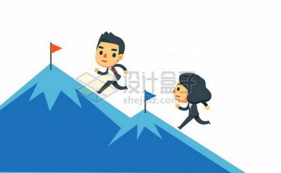 两个卡通商务人士正在比赛登山职场竞争关系png图片素材