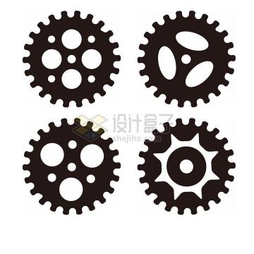 4款黑色齿轮图案工业风png图片免抠素材