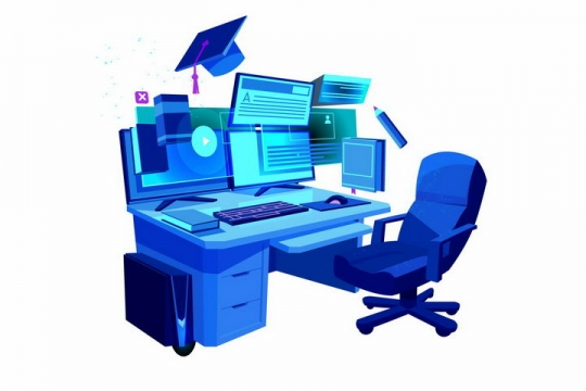 蓝色程序员专用的台式机电脑和电脑桌转椅png图片免抠矢量素材