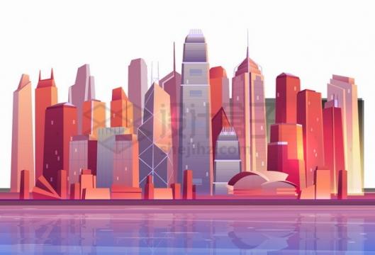 卡通香港城市天际线高楼大厦png图片素材