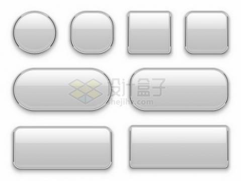 8款不同形状的玻璃面板按钮效果png图片免抠矢量素材
