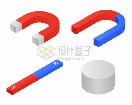 4款2.5D风格蹄形磁铁U形磁铁物理教学工具png图片素材