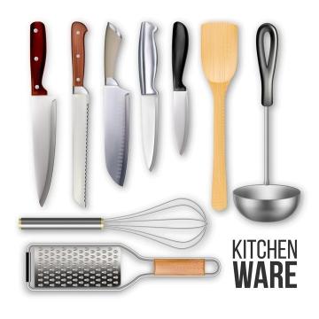 各种厨房用品菜刀锅铲打蛋器等图片免抠素材