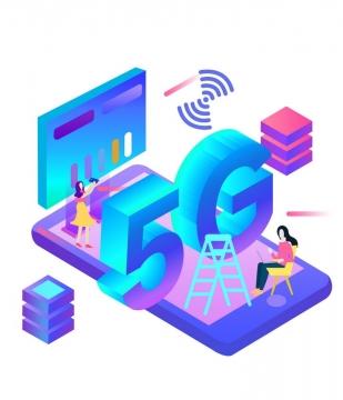 彩色2.5D风格手机上的5G通信技术图片免抠png素材