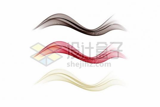 3款黑色红色黄色波浪线装饰png图片免抠矢量素材