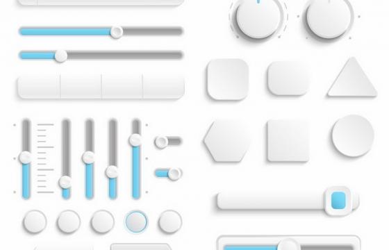 唯美风格蓝色和白色旋钮开关按钮和调节按钮png图片免抠矢量素材