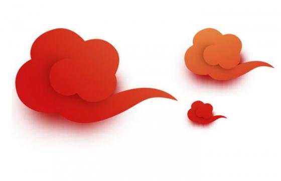 红色渐变色立体风格祥云图案图片免扣素材