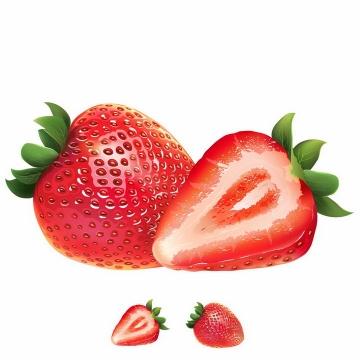 切开的草莓美味水果横切面png图片免抠矢量素材