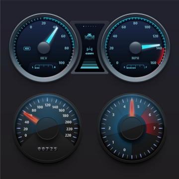 逼真的汽车仪表盘速度表档位表等显示界面png图片免抠矢量素材