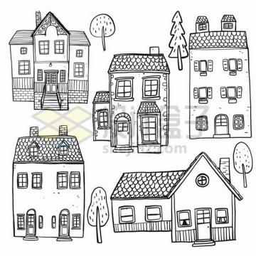 各种乡村小楼房手绘素描简笔画png图片素材