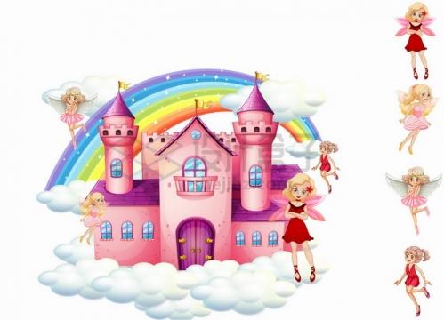 卡通天空城堡和各种巴啦啦小魔仙小仙女小精灵png图片免抠矢量素材