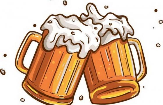 手绘卡通风格啤酒杯碰杯啤酒节图片免扣素材