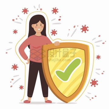 卡通女人拿着盾牌将新型冠状病毒挡住扁平插画png图片免抠矢量素材