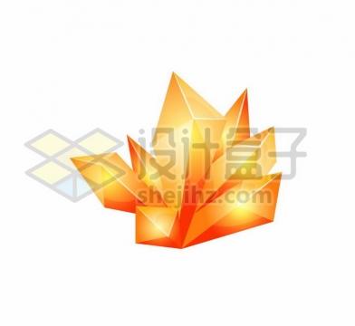 红黄色的卡通水晶宝石png图片免抠矢量素材