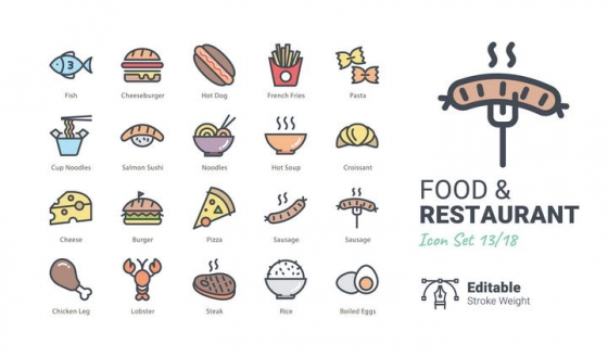卡通风格汉堡热狗薯条等快餐美食轻拟物图标图片免抠素材