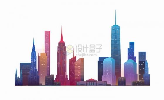 绚丽彩色的城市天际线高楼大厦png图片免抠eps矢量素材